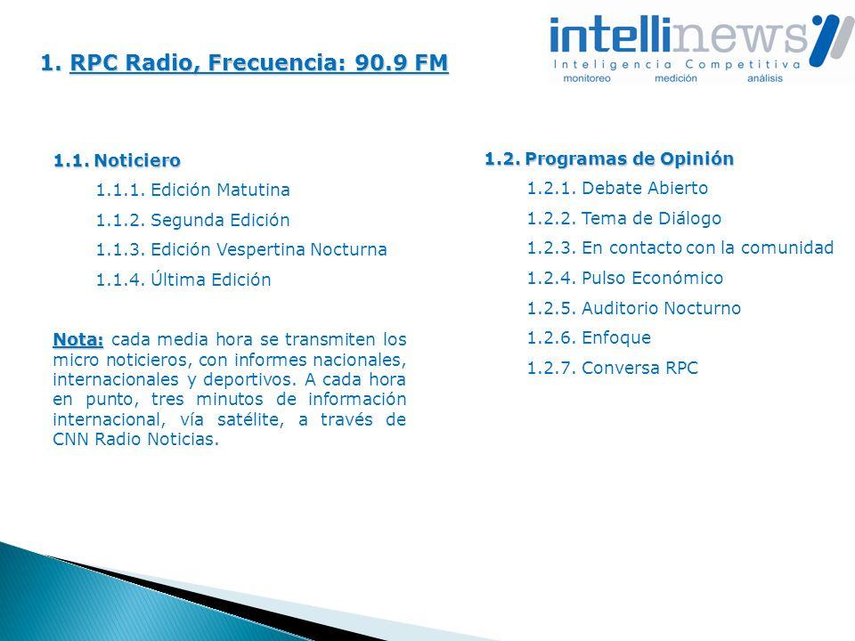 1. RPC Radio, Frecuencia: 90.9 FM 1.1. Noticiero 1.1.1. Edición Matutina 1.1.2. Segunda Edición 1.1.3. Edición Vespertina Nocturna 1.1.4. Última Edici