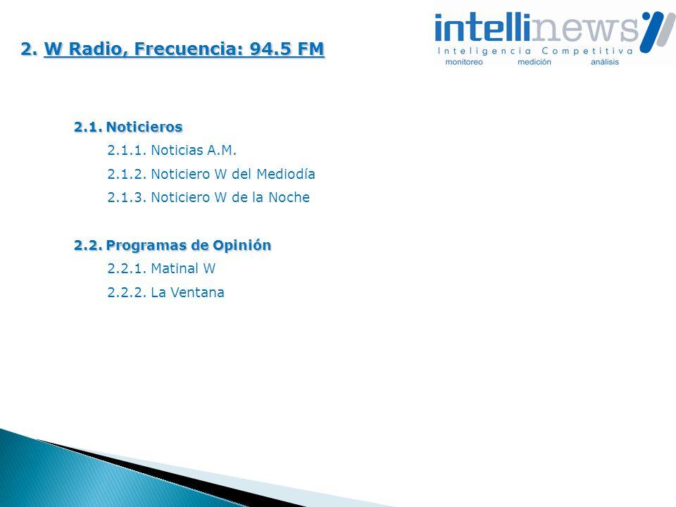 2. W Radio, Frecuencia: 94.5 FM 2.1. Noticieros 2.1.1. Noticias A.M. 2.1.2. Noticiero W del Mediodía 2.1.3. Noticiero W de la Noche 2.2. Programas de