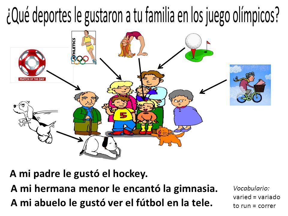 A mi padre le gustó el hockey. A mi hermana menor le encantó la gimnasia. A mi abuelo le gustó ver el fútbol en la tele. Vocabulario: varied = variado