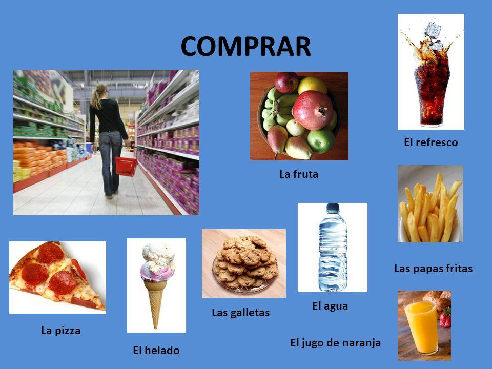 COMPRAR El refresco Las papas fritas La fruta El agua La pizza Las galletas El helado El jugo de naranja