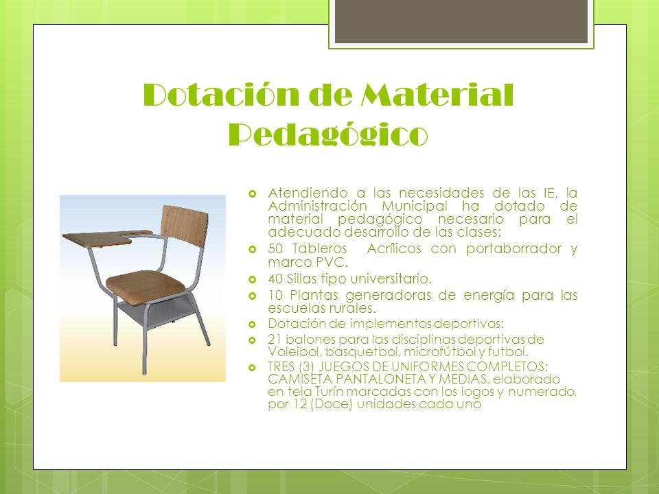 Dotación de Material Pedagógico Atendiendo a las necesidades de las IE, la Administración Municipal ha dotado de material pedagógico necesario para el