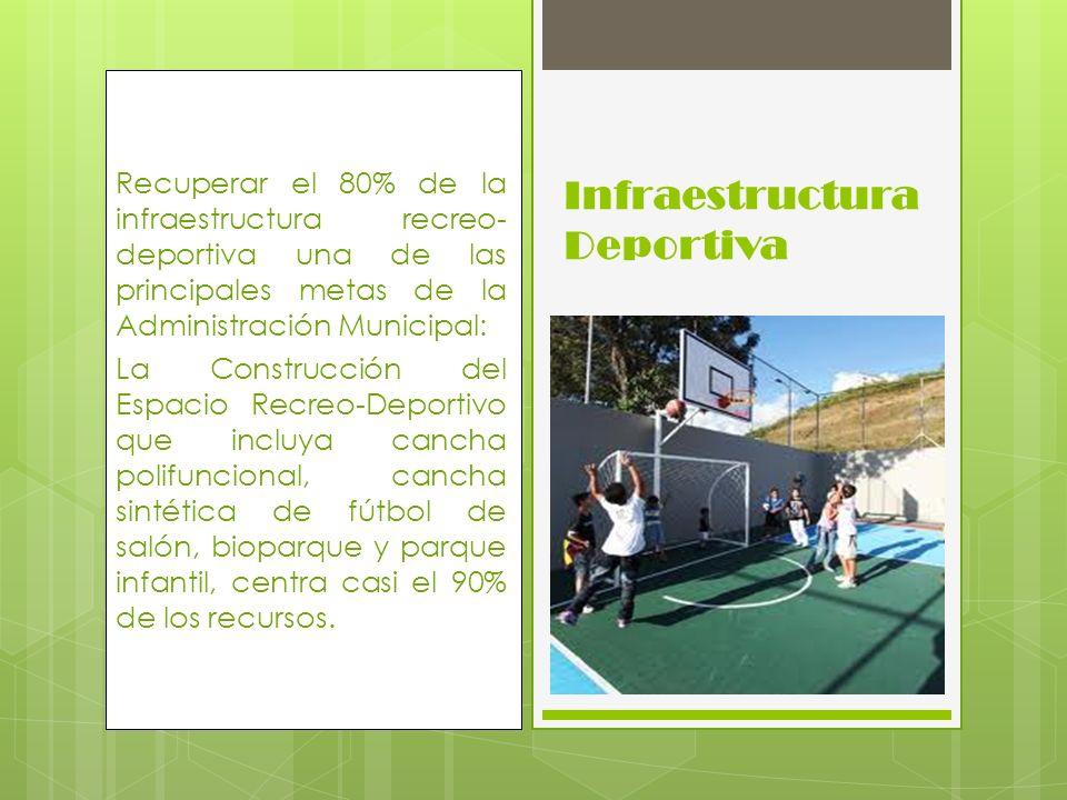 Recuperar el 80% de la infraestructura recreo- deportiva una de las principales metas de la Administración Municipal: La Construcción del Espacio Recr