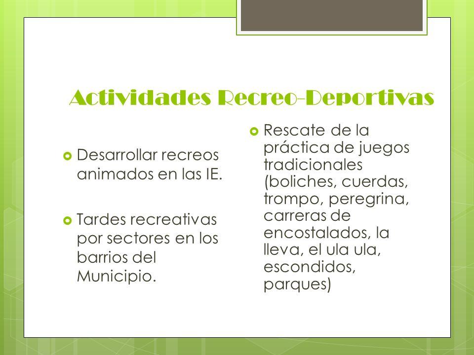 Actividades Recreo-Deportivas Desarrollar recreos animados en las IE. Tardes recreativas por sectores en los barrios del Municipio. Rescate de la prác