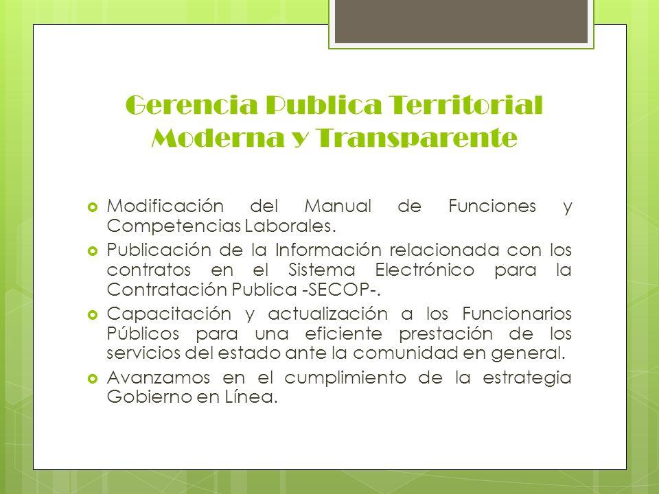 Gerencia Publica Territorial Moderna y Transparente Modificación del Manual de Funciones y Competencias Laborales. Publicación de la Información relac