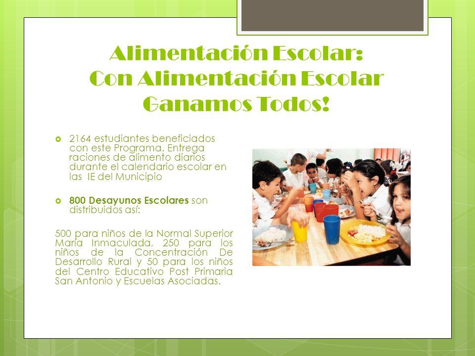 Alimentación Escolar: Con Alimentación Escolar Ganamos Todos! 2164 estudiantes beneficiados con este Programa. Entrega raciones de alimento diarios du