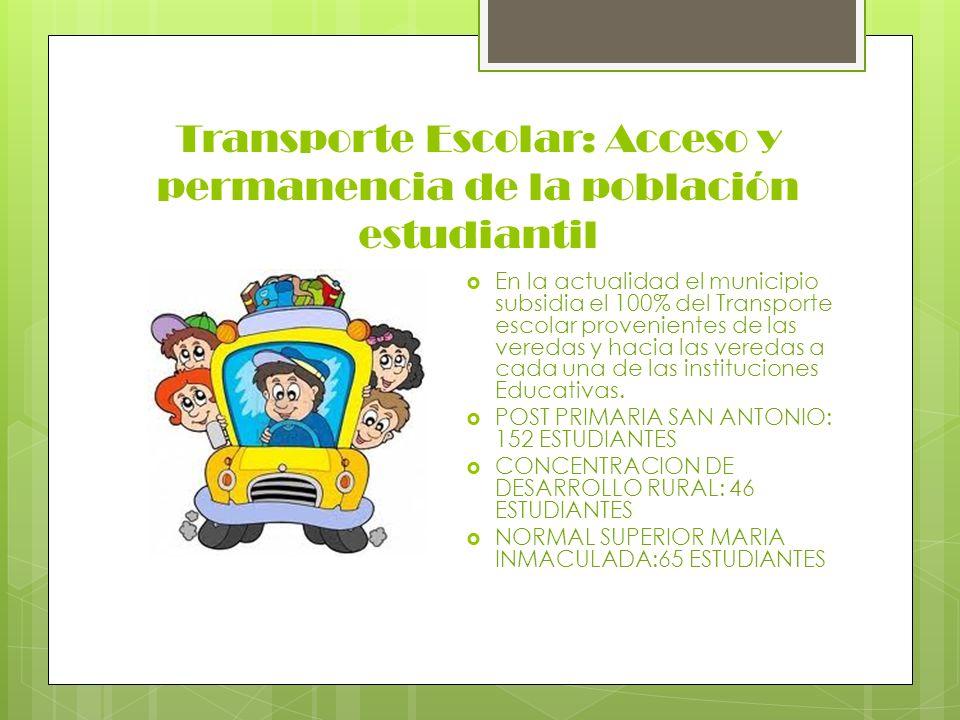 Transporte Escolar: Acceso y permanencia de la población estudiantil En la actualidad el municipio subsidia el 100% del Transporte escolar proveniente