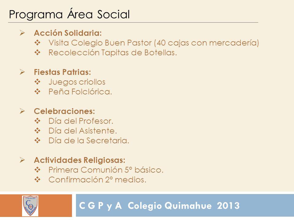 C G P y A Colegio Quimahue 2013 Programa Área Social Acción Solidaria: Visita Colegio Buen Pastor (40 cajas con mercadería) Recolección Tapitas de Botellas.