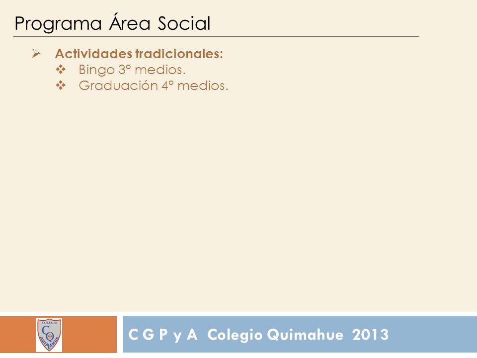C G P y A Colegio Quimahue 2013 Programa Área Social Actividades tradicionales: Bingo 3° medios.