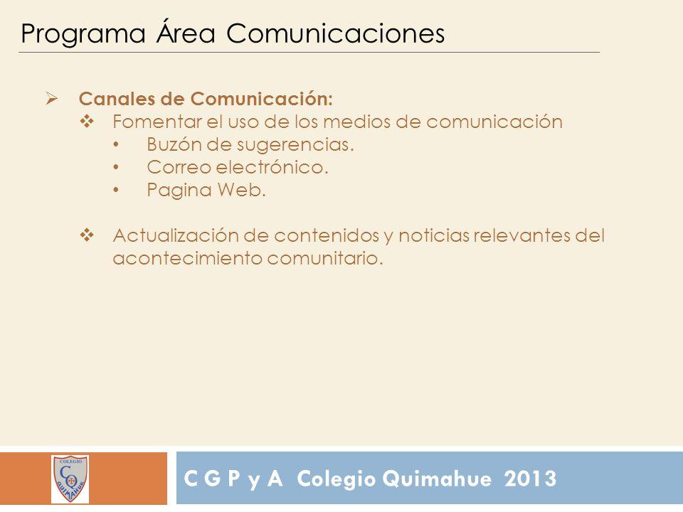 C G P y A Colegio Quimahue 2013 Programa Área Comunicaciones Canales de Comunicación: Fomentar el uso de los medios de comunicación Buzón de sugerencias.