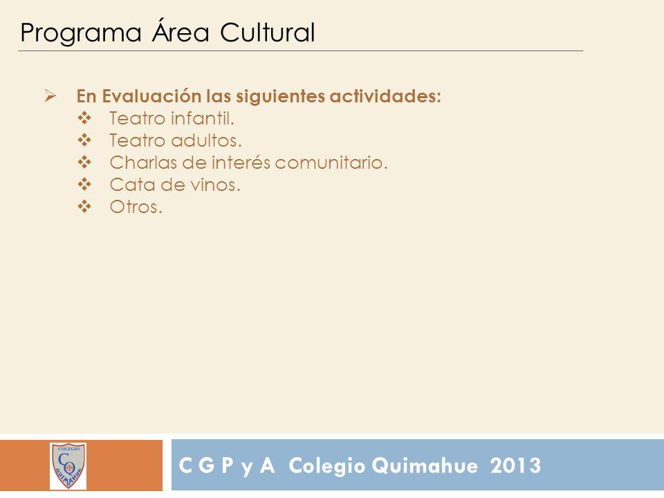 C G P y A Colegio Quimahue 2013 Programa Área Cultural En Evaluación las siguientes actividades: Teatro infantil.