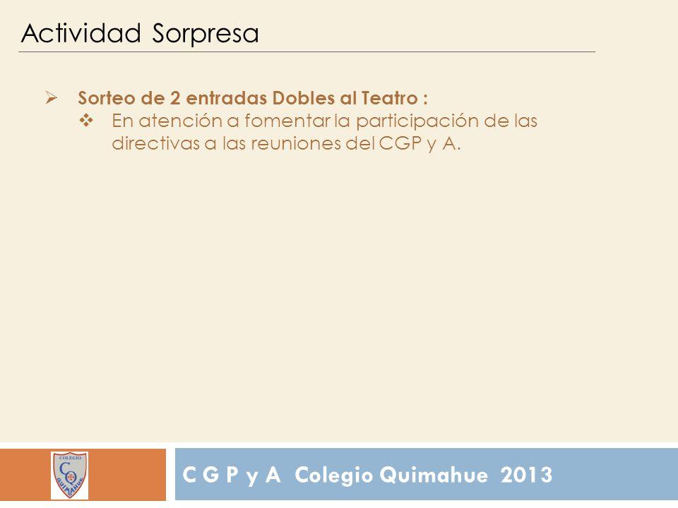 C G P y A Colegio Quimahue 2013 Actividad Sorpresa Sorteo de 2 entradas Dobles al Teatro : En atención a fomentar la participación de las directivas a las reuniones del CGP y A.