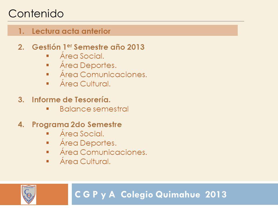 Contenido 1.Lectura acta anterior 2.Gestión 1 er Semestre año 2013 Área Social.