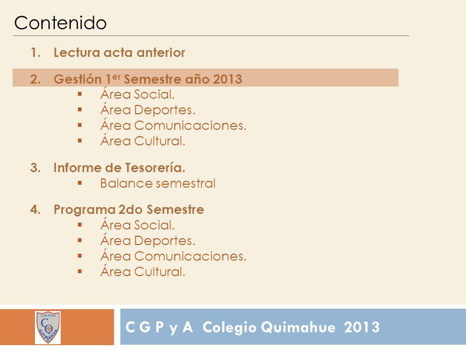 C G P y A Colegio Quimahue 2013 Contenido 1.Lectura acta anterior 2.Gestión 1 er Semestre año 2013 Área Social.