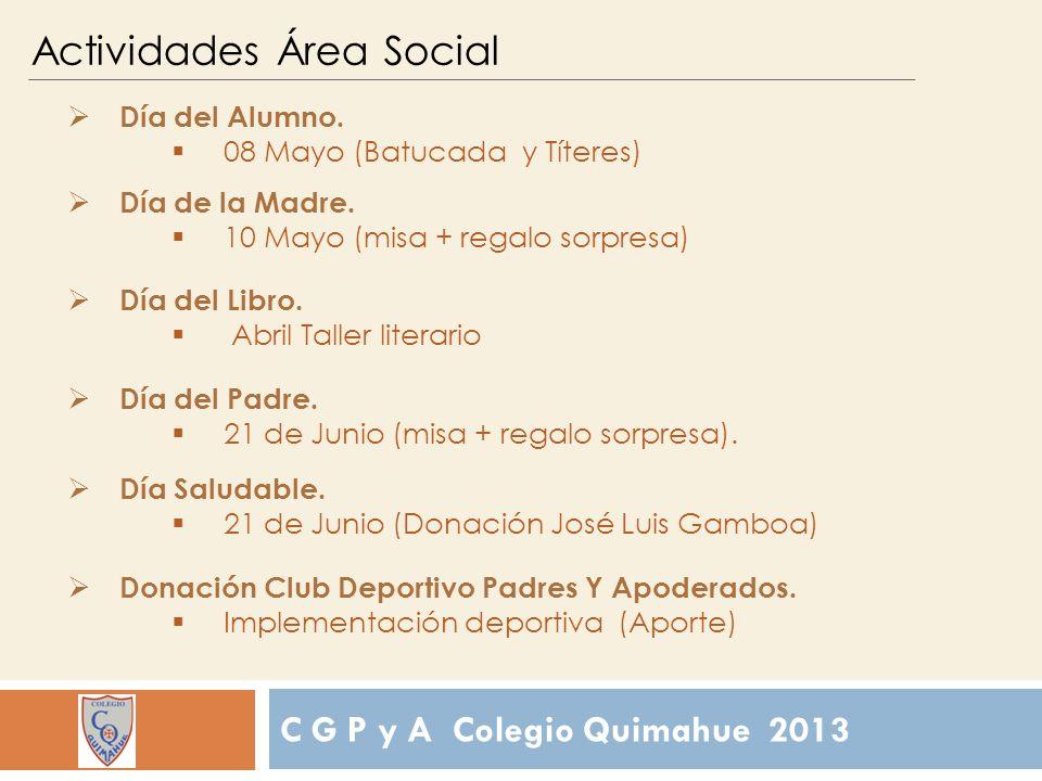 C G P y A Colegio Quimahue 2013 Actividades Área Social Día del Alumno.