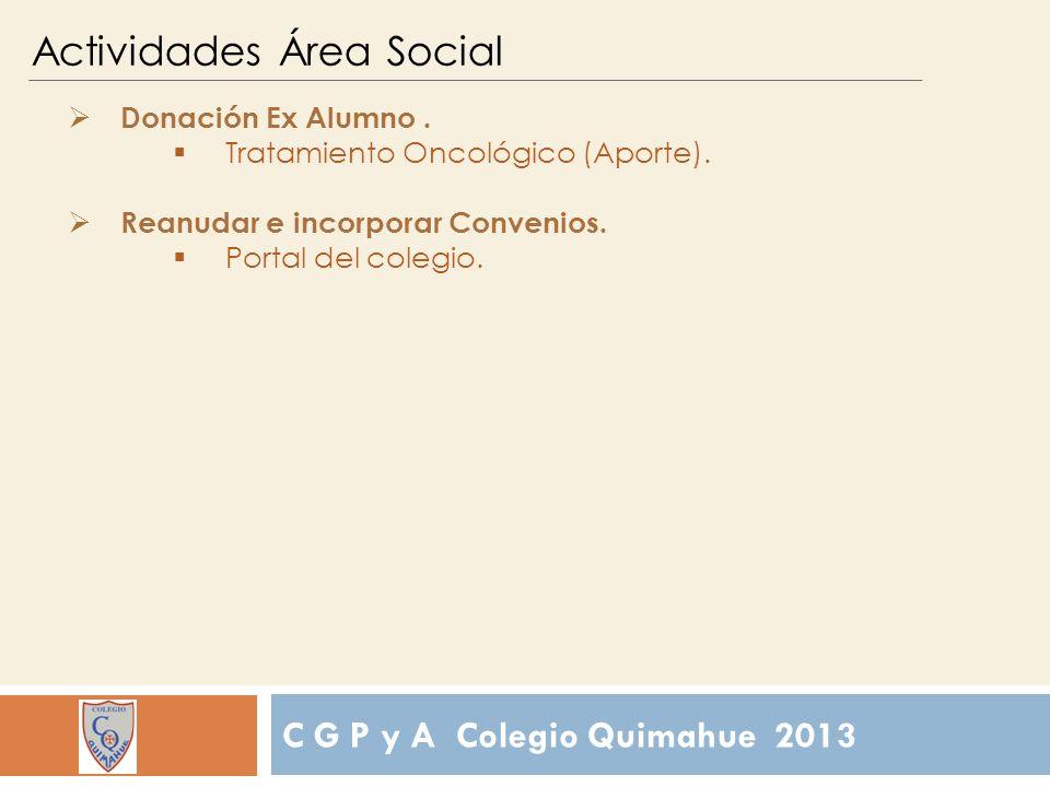 C G P y A Colegio Quimahue 2013 Actividades Área Social Donación Ex Alumno.