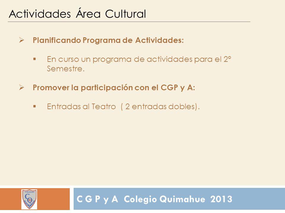 C G P y A Colegio Quimahue 2013 Actividades Área Cultural Planificando Programa de Actividades: En curso un programa de actividades para el 2° Semestre.