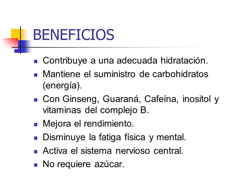 BENEFICIOS Contribuye a una adecuada hidratación. Mantiene el suministro de carbohidratos (energía). Con Ginseng, Guaraná, Cafeína, inositol y vitamin