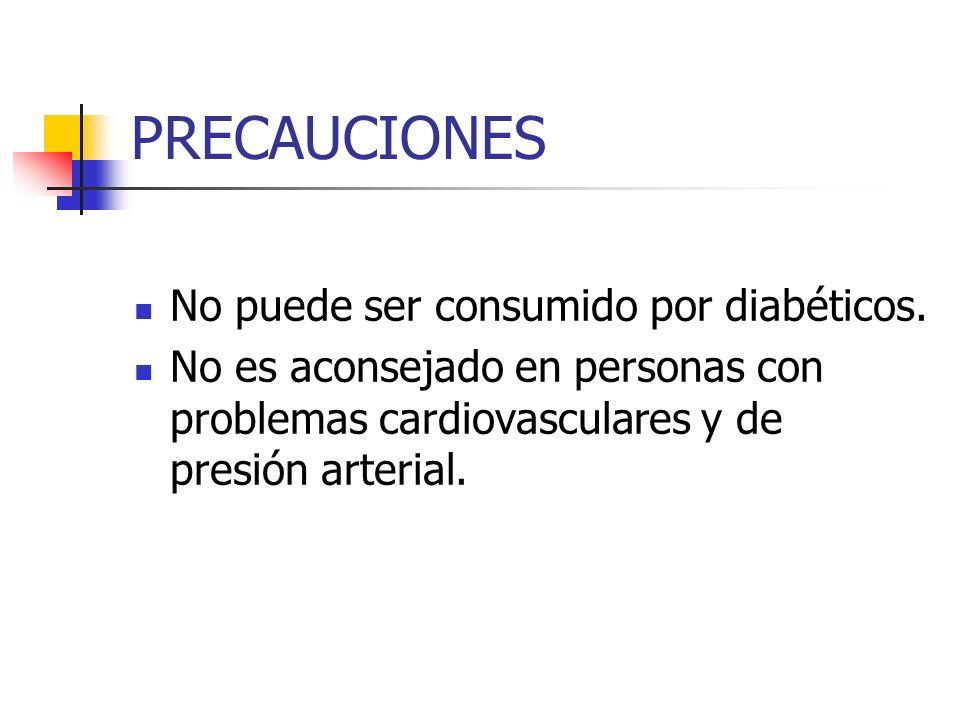 PRECAUCIONES No puede ser consumido por diabéticos. No es aconsejado en personas con problemas cardiovasculares y de presión arterial.
