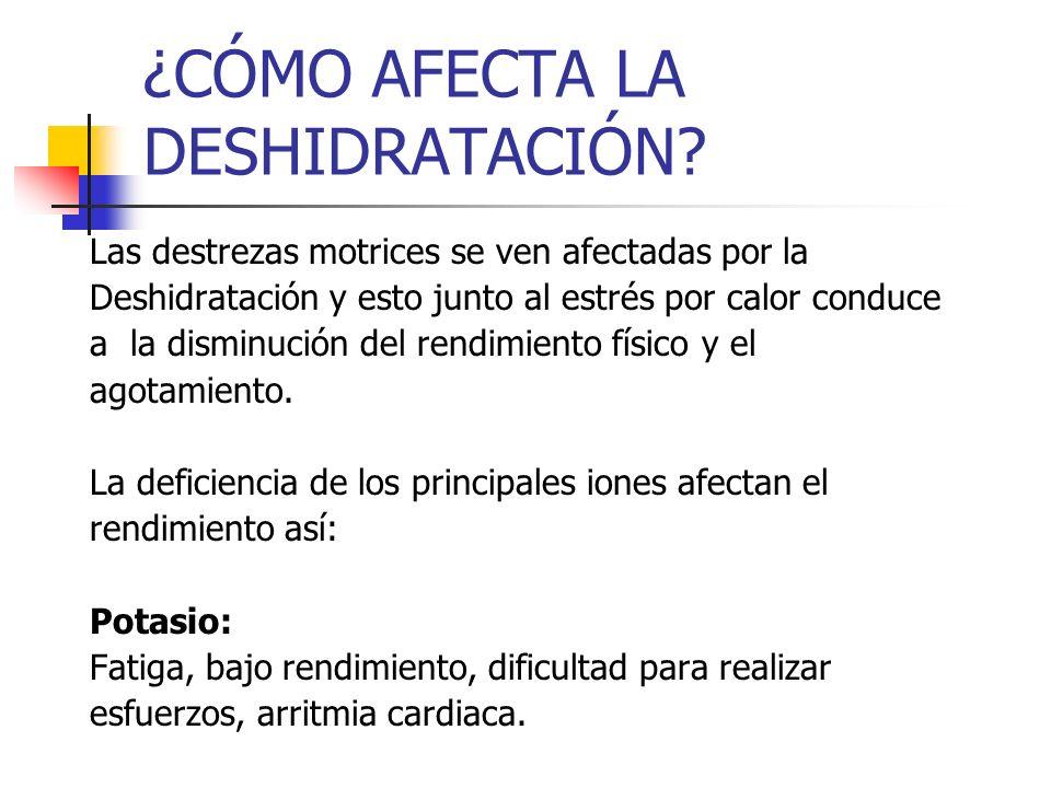 ¿CÓMO AFECTA LA DESHIDRATACIÓN? Las destrezas motrices se ven afectadas por la Deshidratación y esto junto al estrés por calor conduce a la disminució