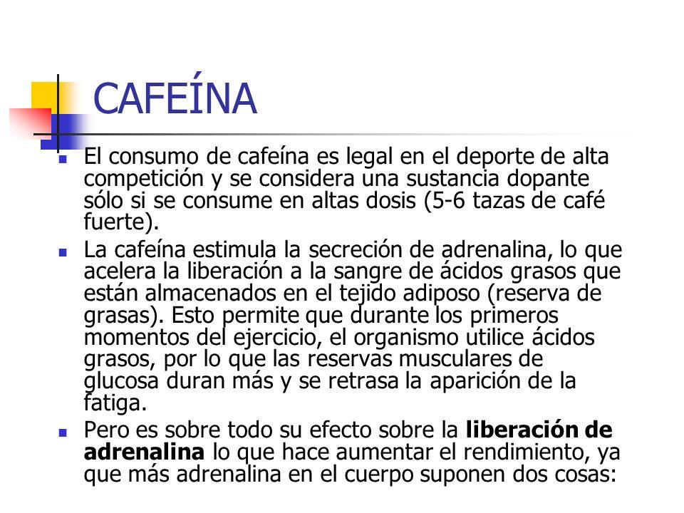 CAFEÍNA El consumo de cafeína es legal en el deporte de alta competición y se considera una sustancia dopante sólo si se consume en altas dosis (5-6 t