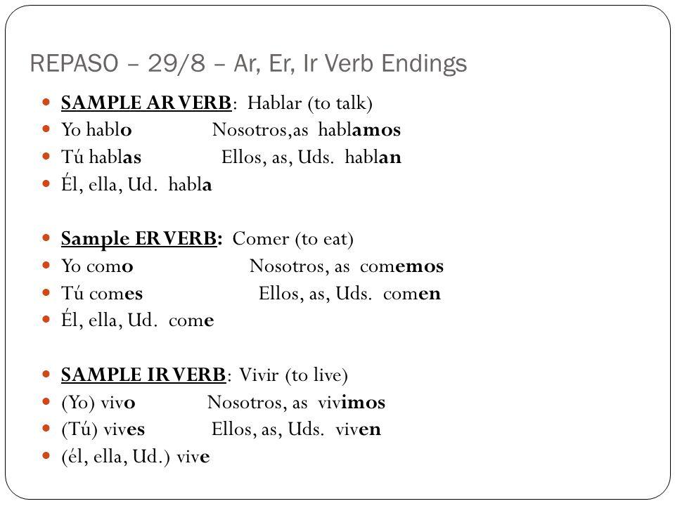 REPASO – 29/8 – Ar, Er, Ir Verb Endings SAMPLE AR VERB: Hablar (to talk) Yo hablo Nosotros,as hablamos Tú hablas Ellos, as, Uds. hablan Él, ella, Ud.