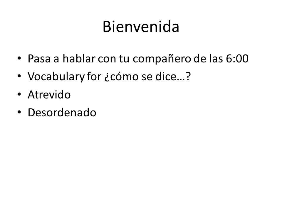 Bienvenida Pasa a hablar con tu compañero de las 6:00 Vocabulary for ¿cómo se dice….