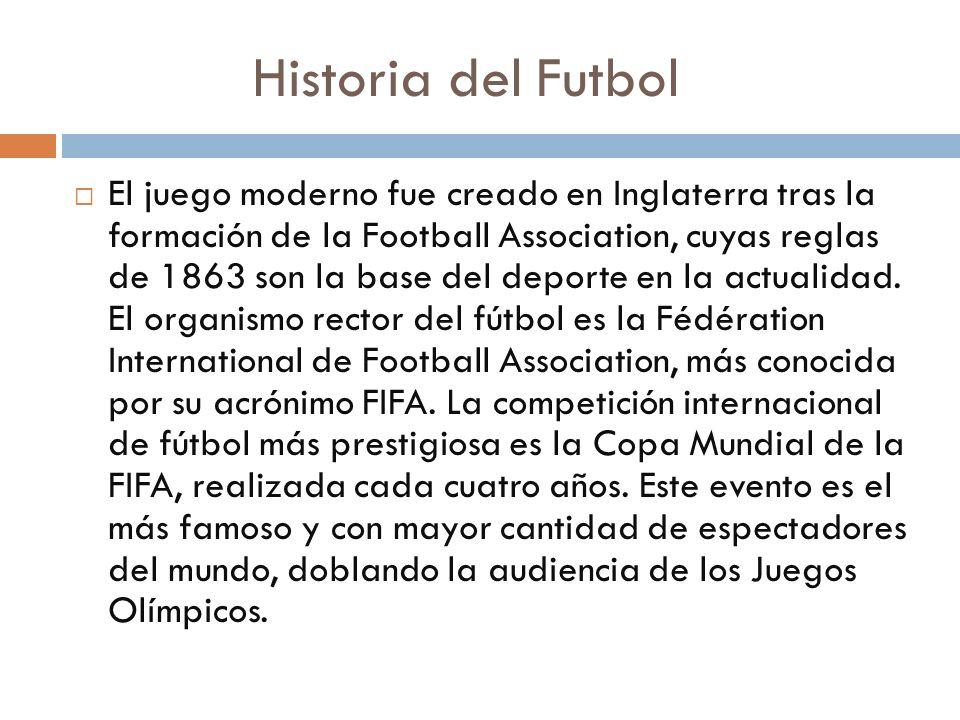 Historia del Futbol El juego moderno fue creado en Inglaterra tras la formación de la Football Association, cuyas reglas de 1863 son la base del depor