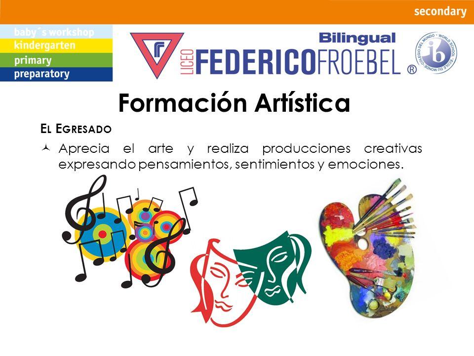 Formación Artística E L E GRESADO Aprecia el arte y realiza producciones creativas expresando pensamientos, sentimientos y emociones.