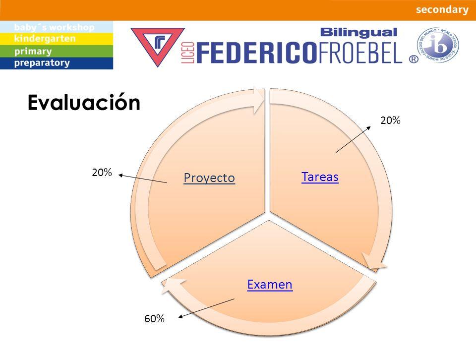 Tareas Examen Proyecto Evaluación 20% 60%
