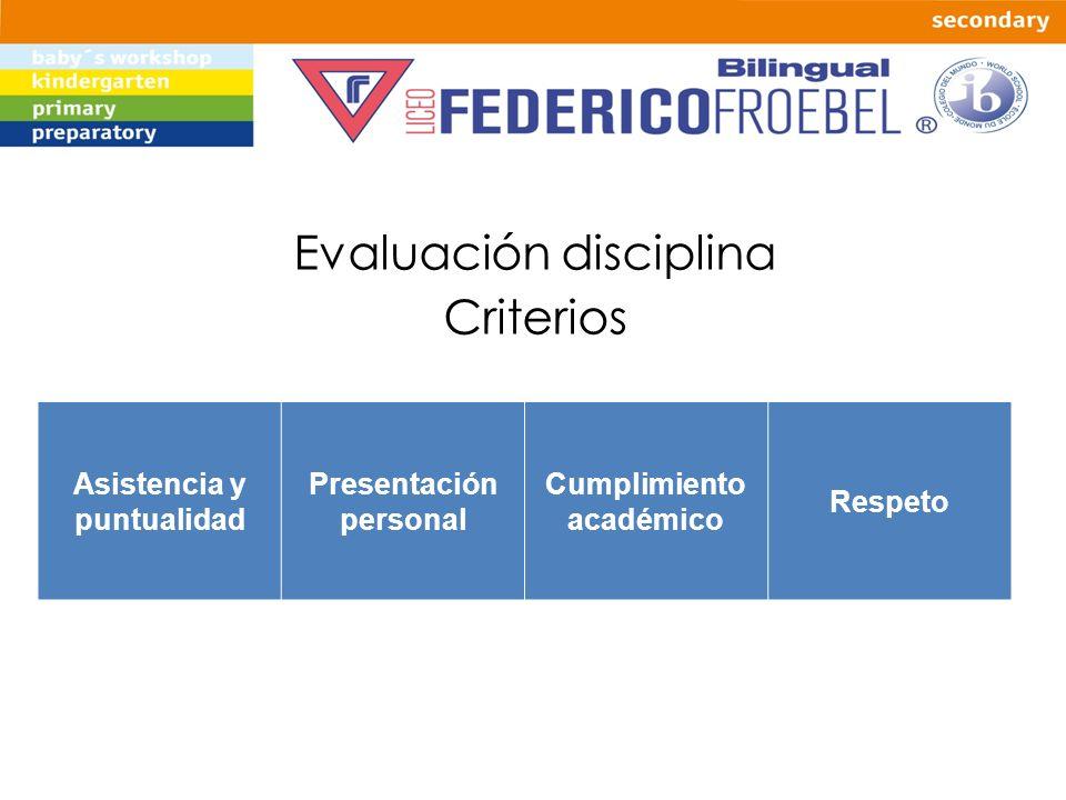 Evaluación disciplina Criterios Asistencia y puntualidad Presentación personal Cumplimiento académico Respeto
