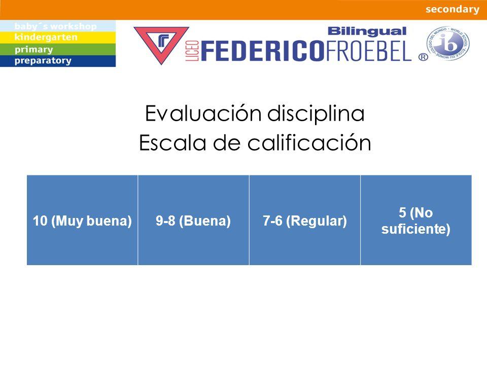 Evaluación disciplina Escala de calificación 10 (Muy buena)9-8 (Buena)7-6 (Regular) 5 (No suficiente)