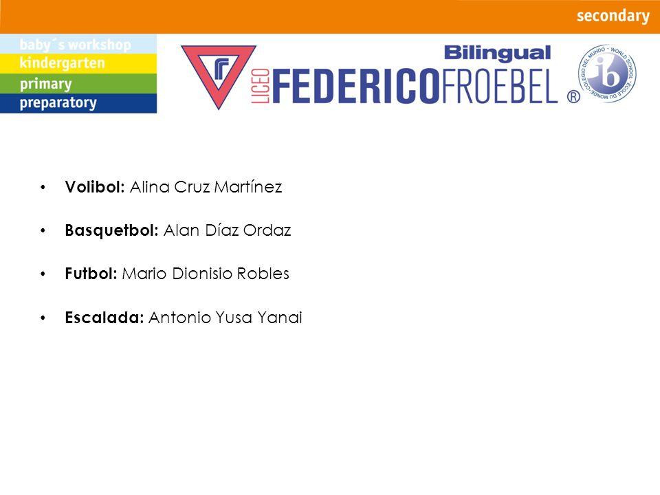Volibol: Alina Cruz Martínez Basquetbol: Alan Díaz Ordaz Futbol: Mario Dionisio Robles Escalada: Antonio Yusa Yanai