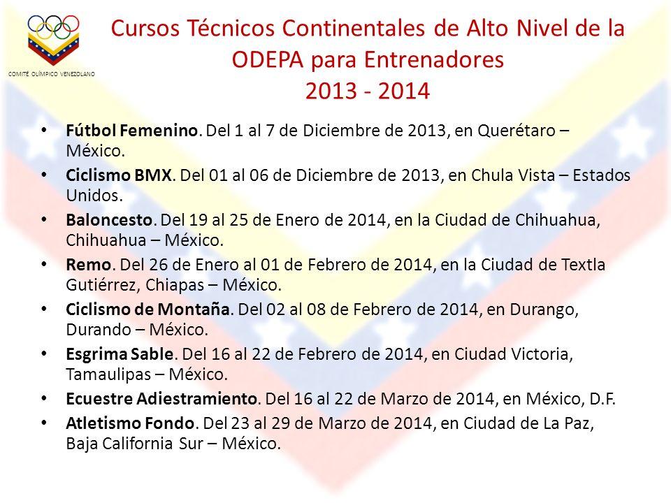 Cursos Técnicos Continentales de Alto Nivel de la ODEPA para Entrenadores 2013 - 2014 Fútbol Femenino.
