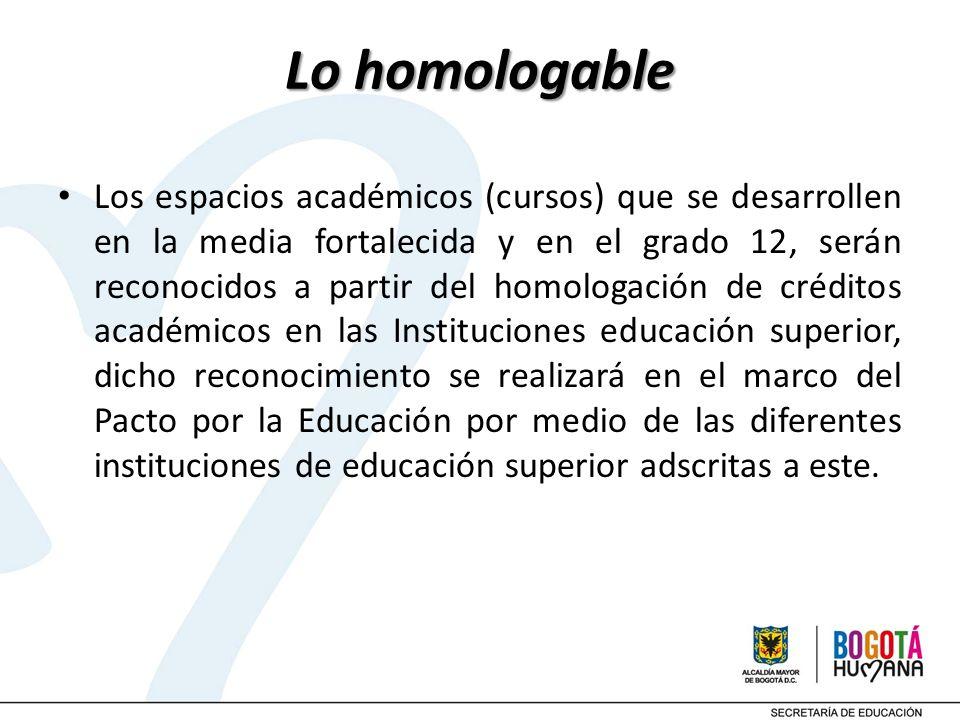 Lo homologable Los espacios académicos (cursos) que se desarrollen en la media fortalecida y en el grado 12, serán reconocidos a partir del homologaci