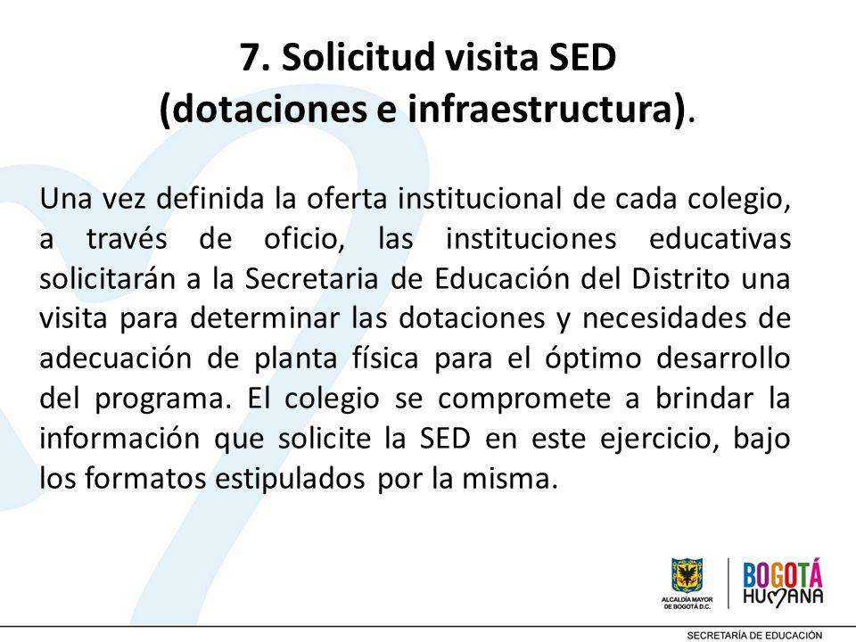 7. Solicitud visita SED (dotaciones e infraestructura). Una vez definida la oferta institucional de cada colegio, a través de oficio, las institucione