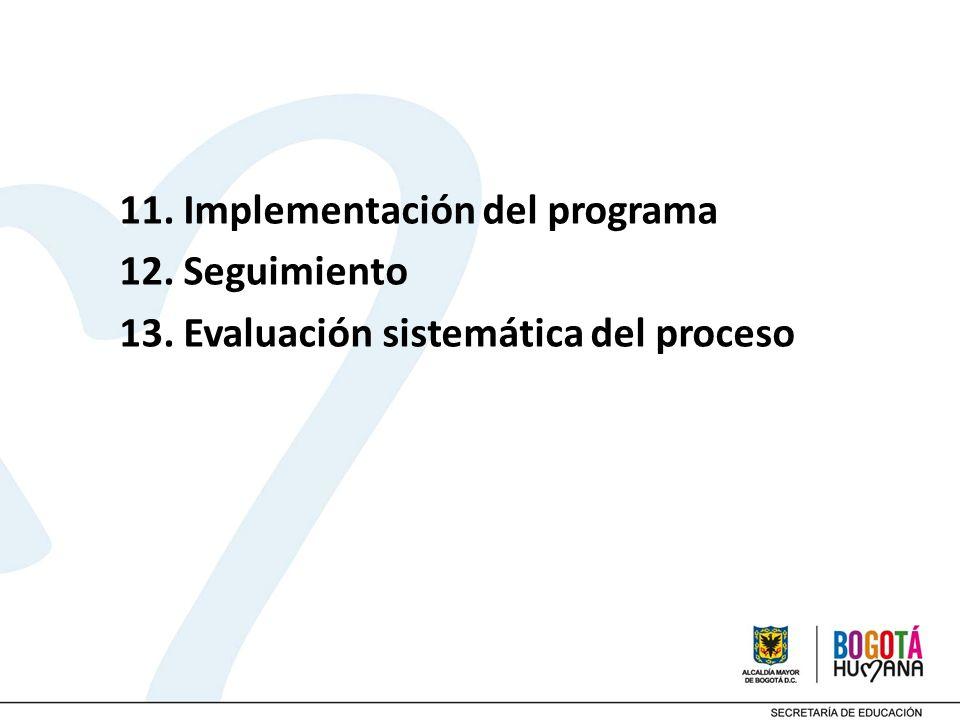 11. Implementación del programa 12. Seguimiento 13. Evaluación sistemática del proceso