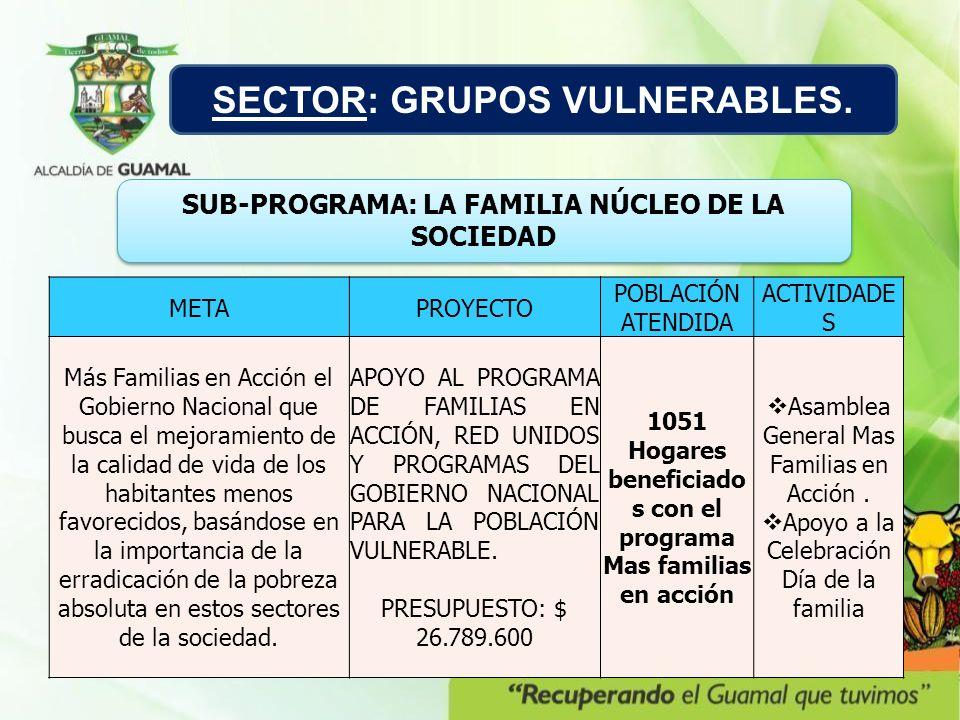 METAPROYECTO POBLACIÓN ATENDIDA ACTIVIDADE S Más Familias en Acción el Gobierno Nacional que busca el mejoramiento de la calidad de vida de los habita