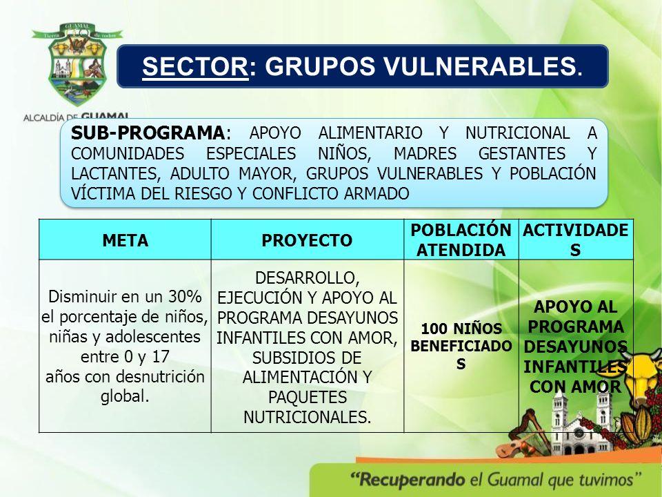 SECTOR: GRUPOS VULNERABLES. SUB-PROGRAMA: APOYO ALIMENTARIO Y NUTRICIONAL A COMUNIDADES ESPECIALES NIÑOS, MADRES GESTANTES Y LACTANTES, ADULTO MAYOR,