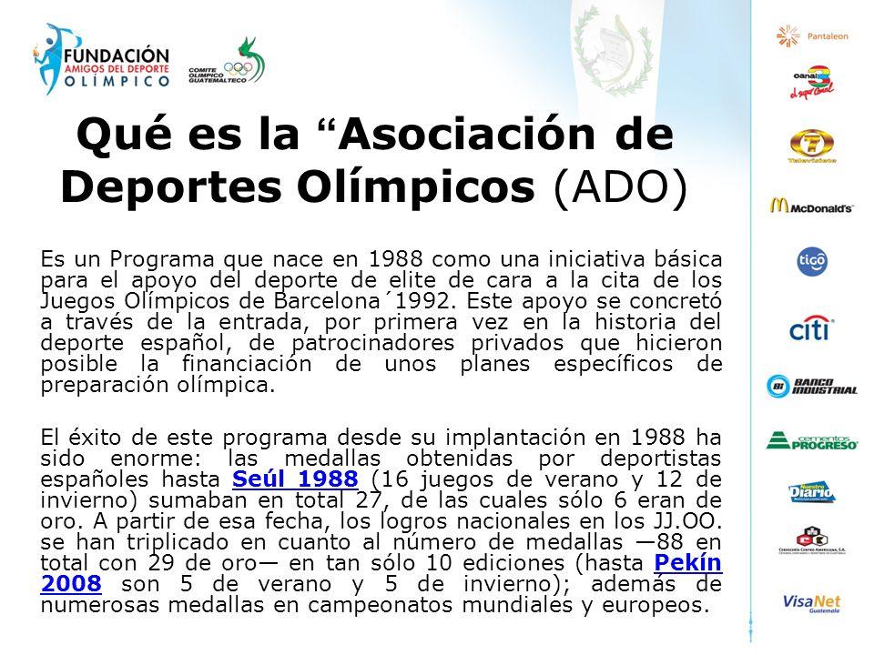 Qué es la Asociación de Deportes Olímpicos (ADO) Es un Programa que nace en 1988 como una iniciativa básica para el apoyo del deporte de elite de cara