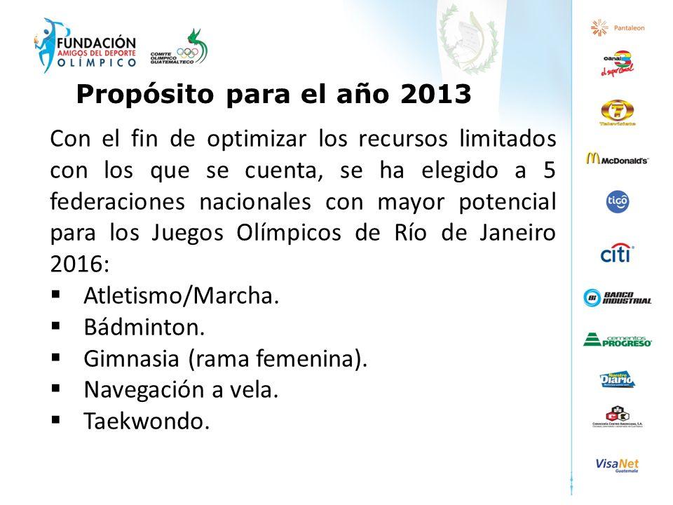 Con el fin de optimizar los recursos limitados con los que se cuenta, se ha elegido a 5 federaciones nacionales con mayor potencial para los Juegos Ol