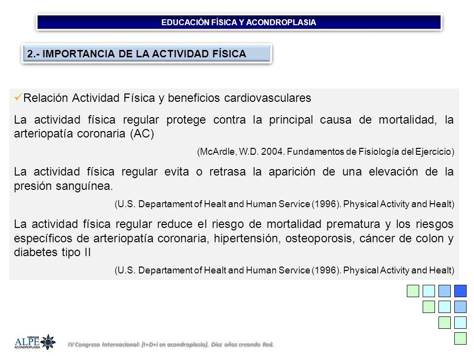EDUCACIÓN FÍSICA Y ACONDROPLASIA IV Congreso Internacional: [I+D+i en acondroplasia]. Díez años creando Red. 2.- IMPORTANCIA DE LA ACTIVIDAD FÍSICA Re