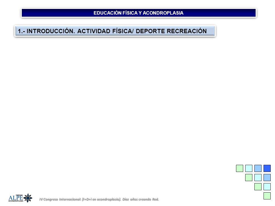 EDUCACIÓN FÍSICA Y ACONDROPLASIA IV Congreso Internacional: [I+D+i en acondroplasia]. Díez años creando Red. 1.- INTRODUCCIÓN. ACTIVIDAD FÍSICA/ DEPOR