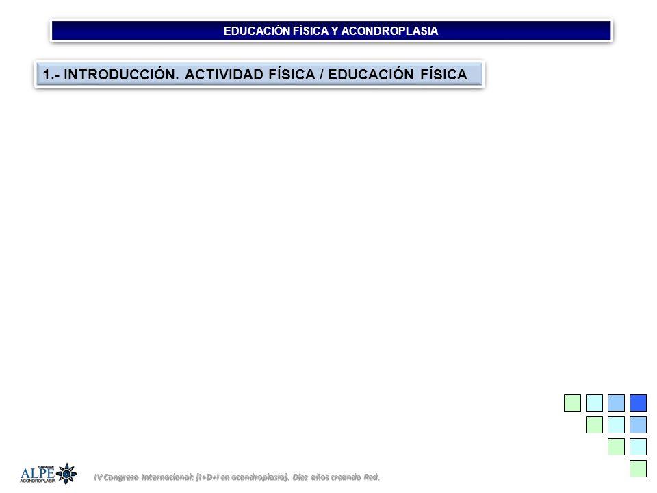 EDUCACIÓN FÍSICA Y ACONDROPLASIA IV Congreso Internacional: [I+D+i en acondroplasia]. Díez años creando Red. 1.- INTRODUCCIÓN. ACTIVIDAD FÍSICA / EDUC