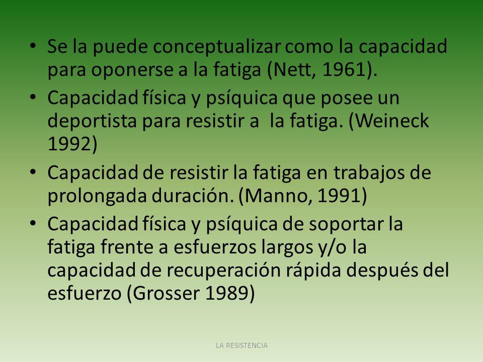 FUNCIONES DE LA RESISTENCIA La resistencia tiene diferentes funciones en la práctica deportiva.