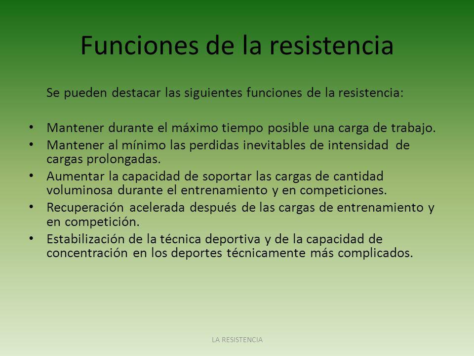 Funciones de la resistencia Se pueden destacar las siguientes funciones de la resistencia: Mantener durante el máximo tiempo posible una carga de trab