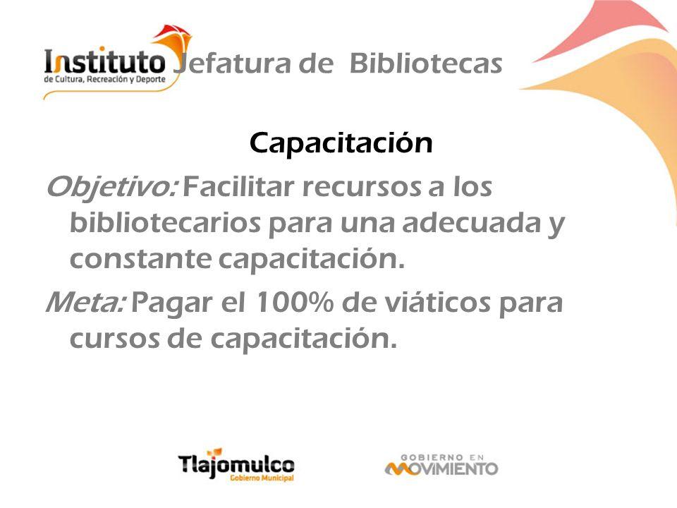 Jefatura de Bibliotecas Capacitación Objetivo: Facilitar recursos a los bibliotecarios para una adecuada y constante capacitación. Meta: Pagar el 100%