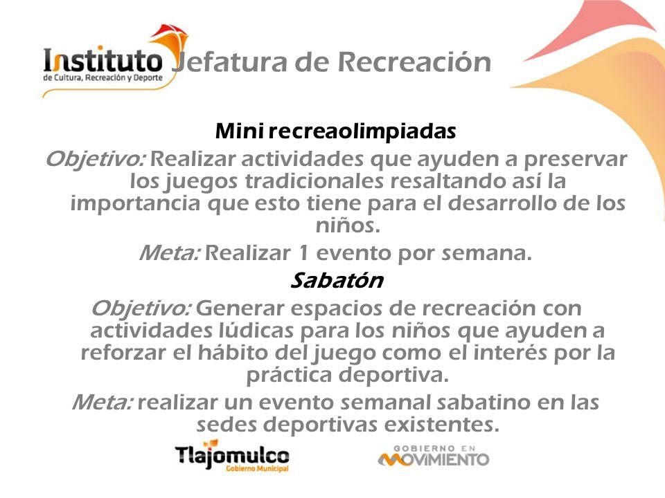 Jefatura de Recreación Mini recreaolimpiadas Objetivo: Realizar actividades que ayuden a preservar los juegos tradicionales resaltando así la importan