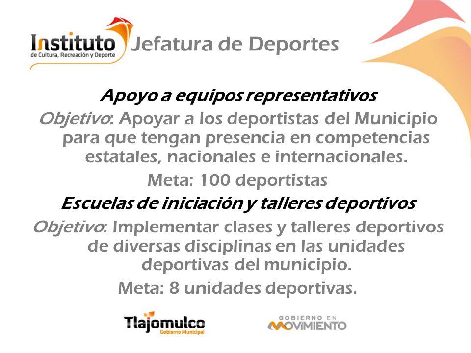 Jefatura de Deportes Apoyo a equipos representativos Objetivo: Apoyar a los deportistas del Municipio para que tengan presencia en competencias estata