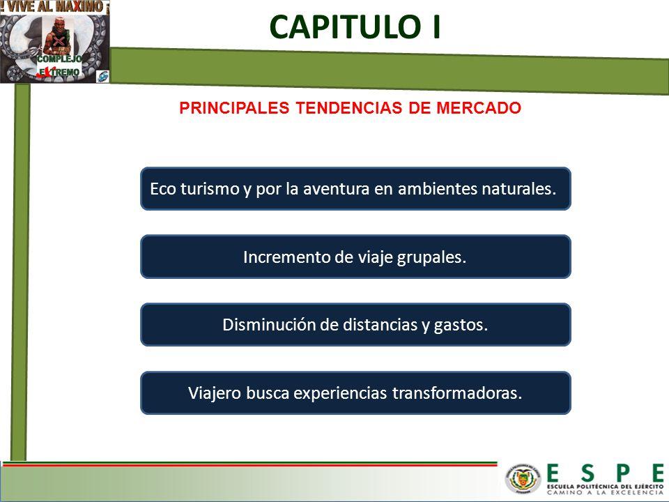 PRINCIPALES TENDENCIAS DE MERCADO CAPITULO I Eco turismo y por la aventura en ambientes naturales. Incremento de viaje grupales. Disminución de distan