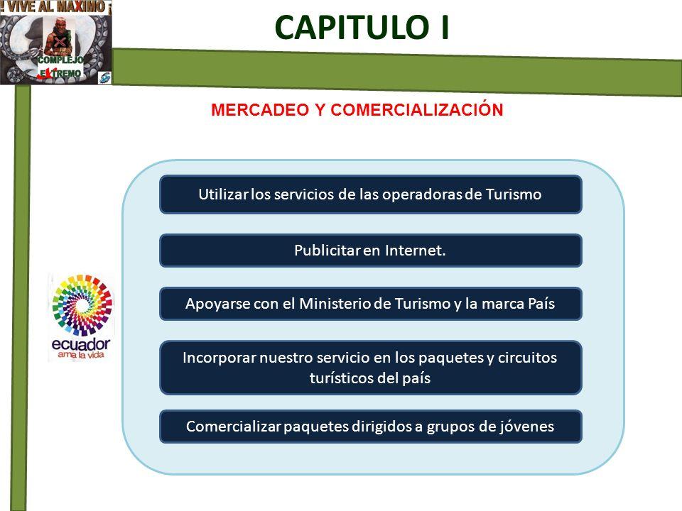 MERCADEO Y COMERCIALIZACIÓN CAPITULO I Utilizar los servicios de las operadoras de Turismo Publicitar en Internet. Apoyarse con el Ministerio de Turis